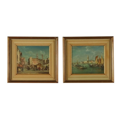 Pair of Paintings by E. Zeno First Half of 1900s