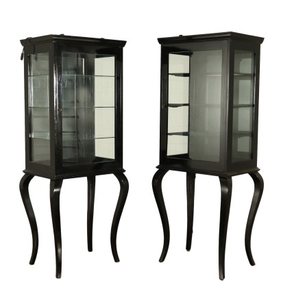 Pair of Revival Glass Cabinets Ebony Italy 20th Century