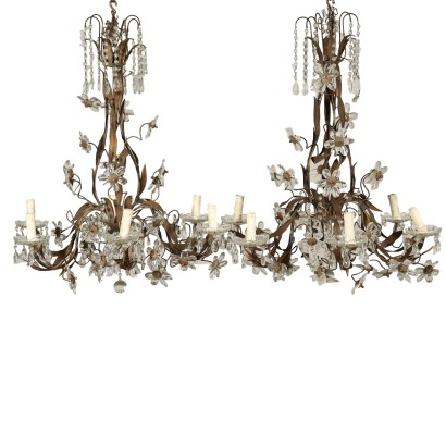 Pair of Chandeliers Glass Pendants Italy 20th Century