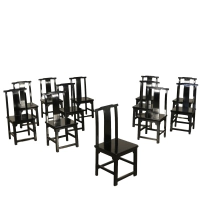 Set of Twelve Lacquered Chairs Italy 20th Century