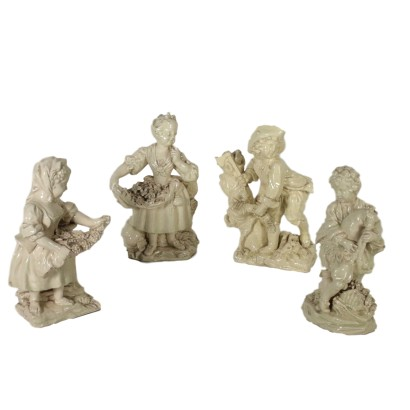 Set of Figurines Glazed Earthenware Italy 19th century