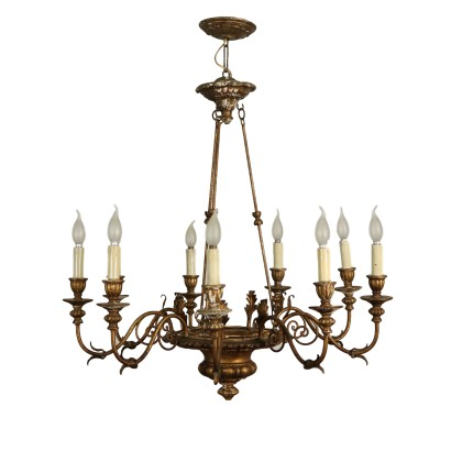 Chandelier Carved Gilded Wood Italy 20th Century