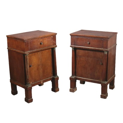 Pair of Empire Nightstands Walnut Italy Early 1800s