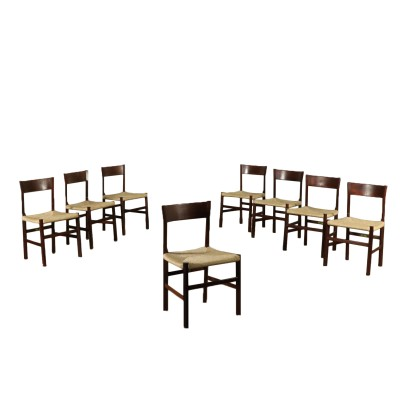 Set of Chairs Rosewood Raffia Vintage Italy 1960s-1970s