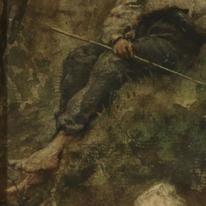 Painting by Roberto Fontana Young Fisher 19th Century