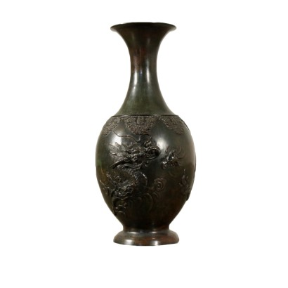 Bronze Vase Dark Patina Made in Japan 19th Century