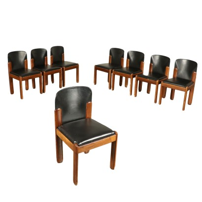 Set of Chairs by Silvio Coppola Leather Vintage Italy 1960s-1970s