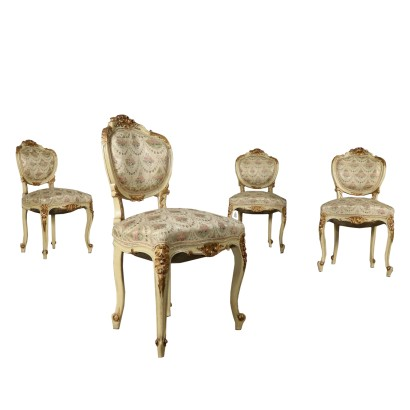 Set of Four Revival Chairs Italy 20th Century