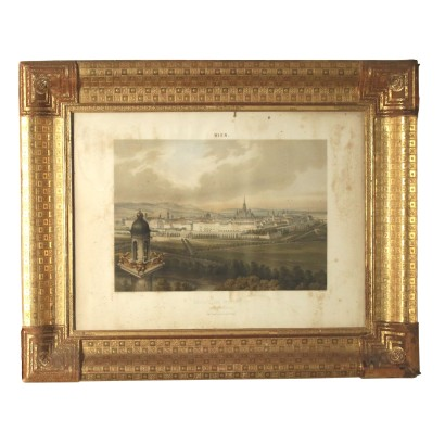 Frame with Printing of the City Austria Mid 1800s