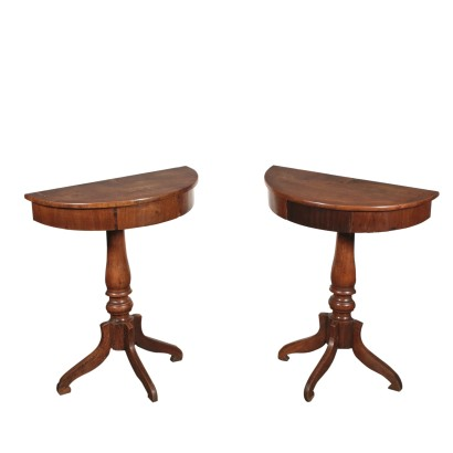 Pair of Walnut Console Tables Italy Mid 19th Century