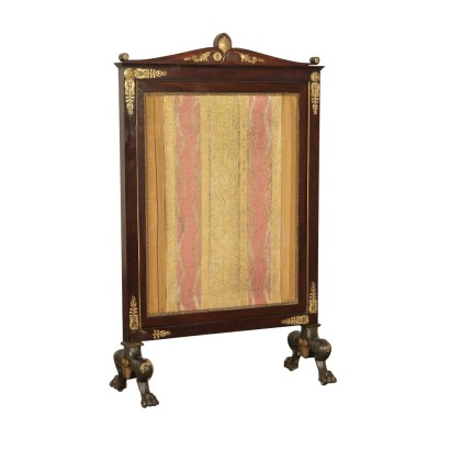 Elegant Fireplace Screen Mahogany Italy 19th Century