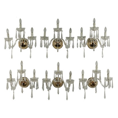 Set of Six Sconces Brass Crystal Pendants Italy 20th Century