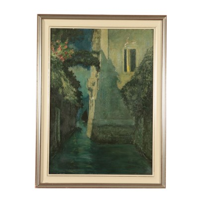 Night Venetian Glimpse by Rodolfo Paoletti Painting 20th Century