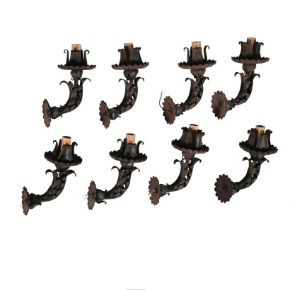 Set of Eight Sconces Iron 19th Century