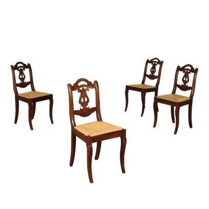 Set of Four Chairs Straw Seat Italy 19th Century