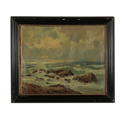Marine Landscape by Felice Giordano Painting 20th Century