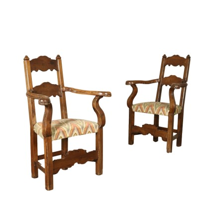 Pair of Highchairs Walnut Italy 18th Century