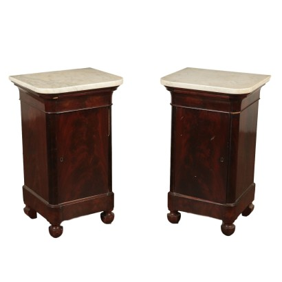 Pair of Nightstands Charles X Mahogany Italy 19th Century