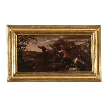 War Scene Oil Painting Late 17th Century