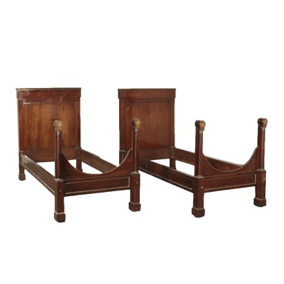 Pair of Empire Walnut Single Beds Italy 19th Century
