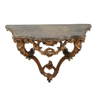 Gilded Console Table with Marbled Top Italy Mid 1700s