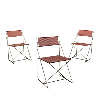 Set of Three Chairs Metal Vintage Denmark 1970s-1980s