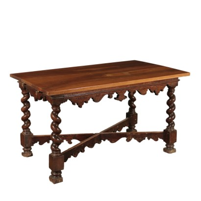 Table with Twisted Legs Walnut Italy 18th Century