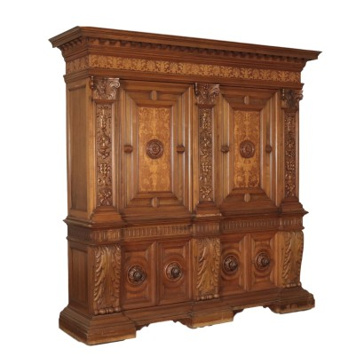 Large Revival Cupboard Maple Walnut Italy 20th Century