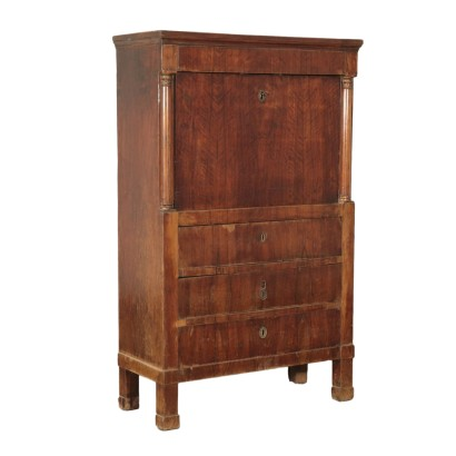 Empire Walnut Secretaire Italy 19th Century