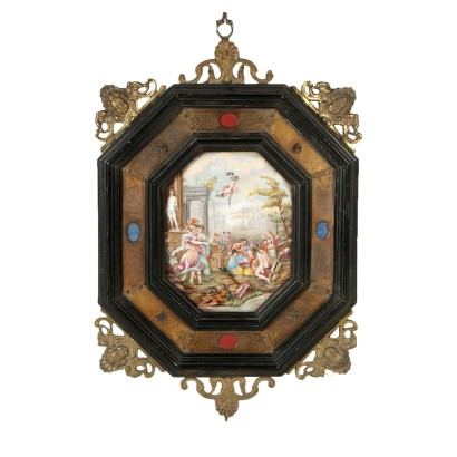 Capodimonte Ceramic Tile within Frame Italy Late 1800s