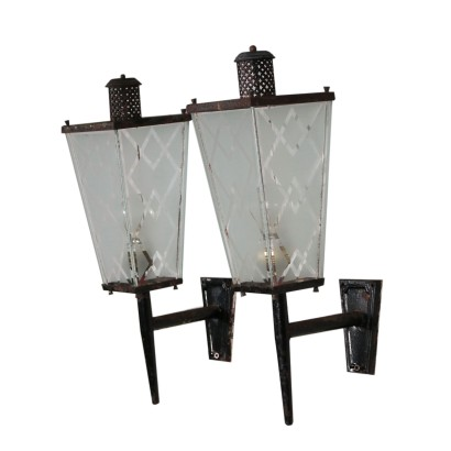 Pair of Wall Lights Iron Frosted Glass Vintage Italy 1950s