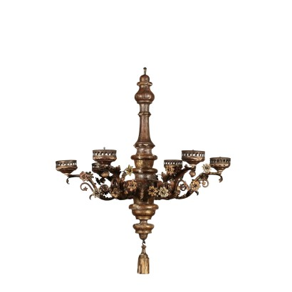 Ceiling Lamp in Iron and Wood Italy 19th Century