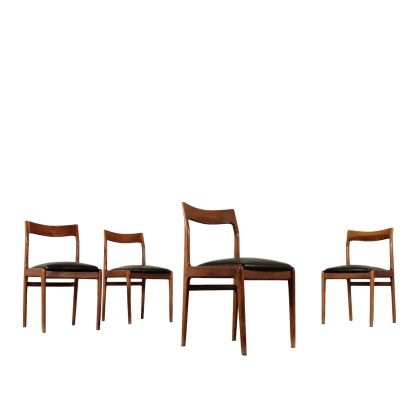 Set of Chairs Stained Beech Vintage Italy 1960s-1970s