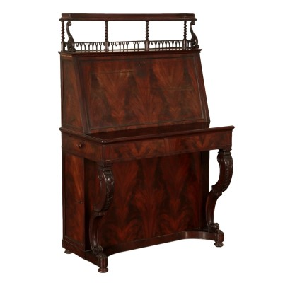 Writing Desk with Drop Leaf Maple Mahogany France Mid 1800s