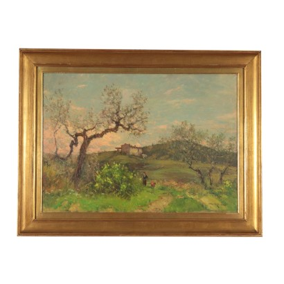 Landscape Painting by Alberto Cecconi Countryside 20th Century