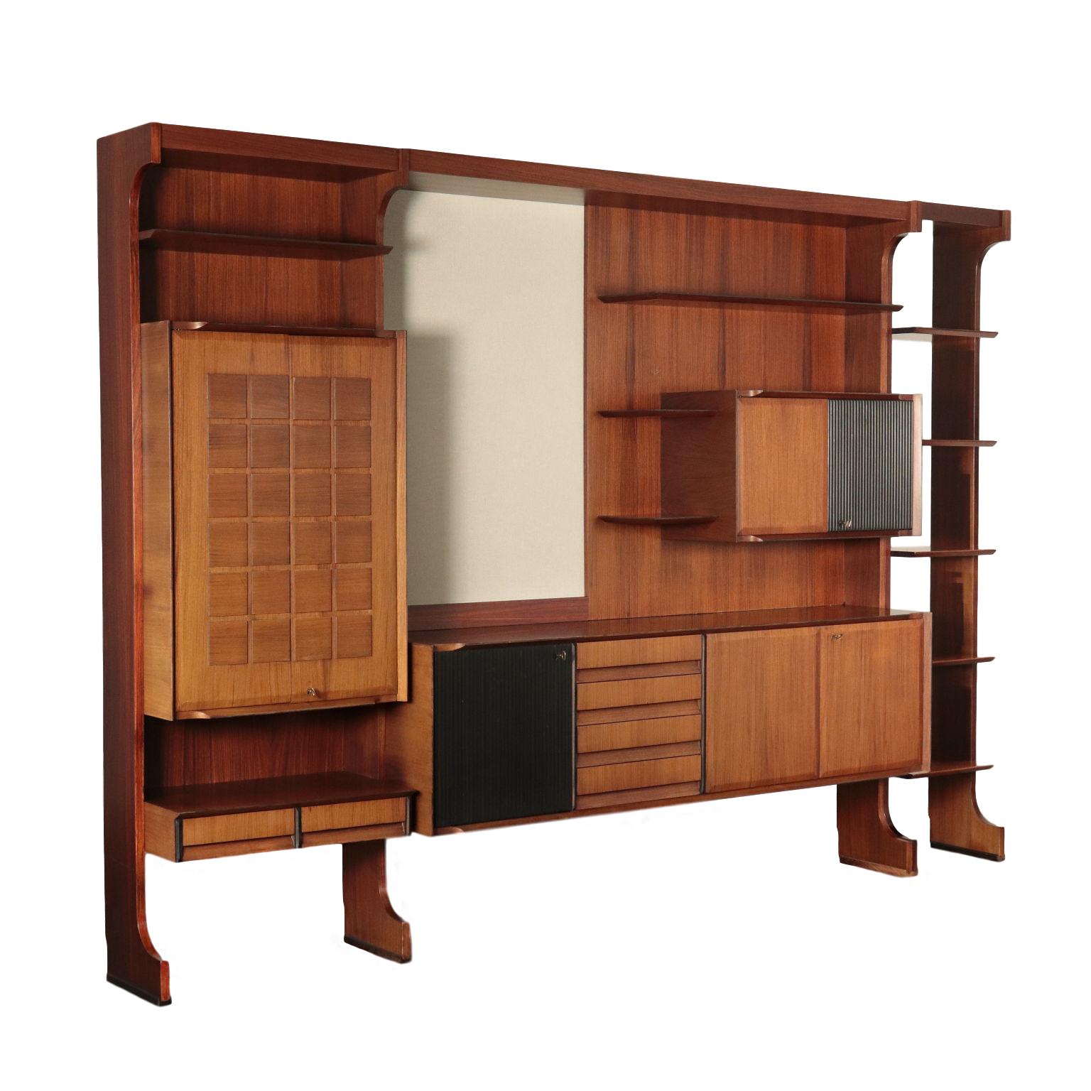 Wohnzimmer Schrank Rosenholz Furnier Italien 6er Jahre - Librerie