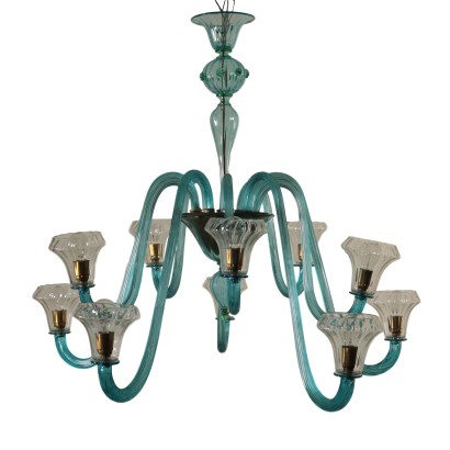 Glass Chandelier Murano Italy Mid 1900s