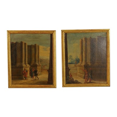 Pair of Landscape Paintings with Architectures and Figures 1700s