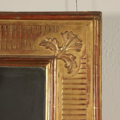 Gilded Mirror with Carved Frame Italy Late 1800s