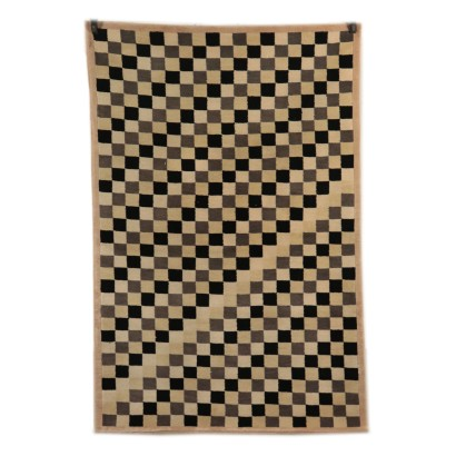 Vintage Short-haired Checkered Rug 1980s