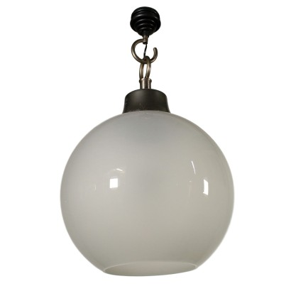Caccia Dominioni Ceiling Lamp Aluminium Frosted Glass Vintage Italy