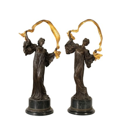 Couple of Dancers Bronze Marble Base 20th Century