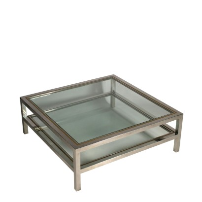 Coffee Table Chromed Metal Brass Glass Vintage Italy 1970s
