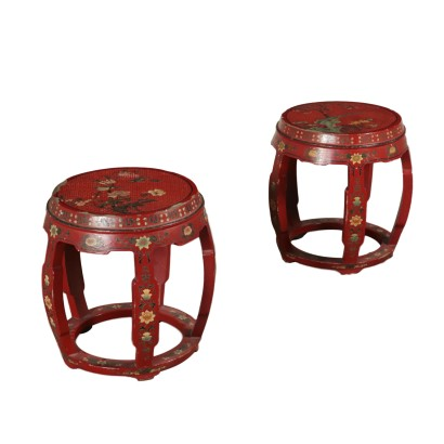 Pair of Chinoiserie Stools Laquered Wood 20th Century