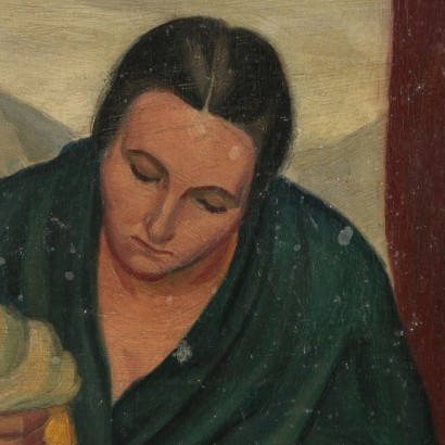 Madonna with Child Copy Signed by Tozzi Painting 1924