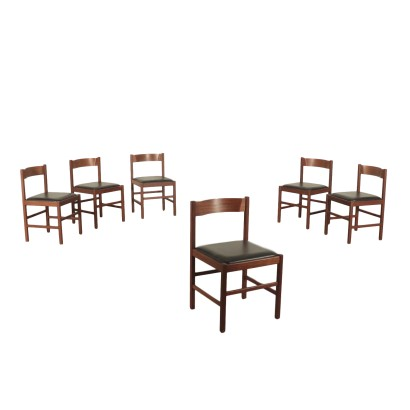 Set of Chairs Teak Skai Vintage Italy 1960s
