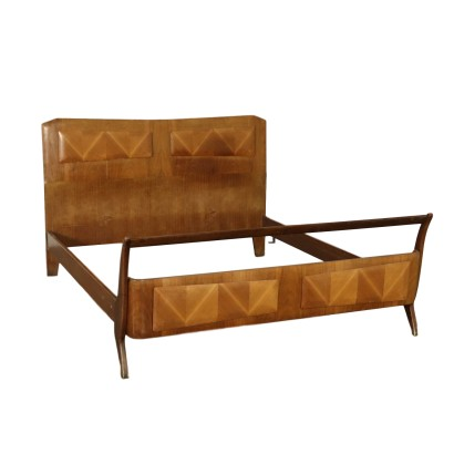 Double Bed Stained Beech Mahogany Veneer Vintage Italy 1950s