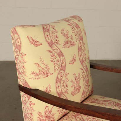Pair of Armchairs Fabric Upholstery Wood Vintage Italy 1940s