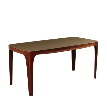 Table Mahogany Glass Vintage Italy 1950s-1960s