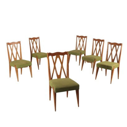 Set of Chairs Beech Fabric Upholstery Vintage Italy 1950s